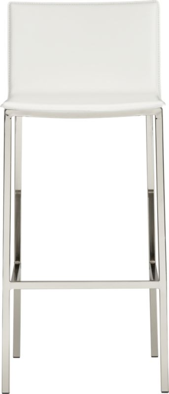"""<span class=""""copyHeader"""">mod bod.</span> Streamlined one-piece leather suits 'n' seats all sizes. Wide seat/back dine square in the comfort zone. Ivory leather composite with monochromatic topstitch. Tubular square metal legs kick back in satin nickel finish.<br /><br /><NEWTAG/><ul><li>Continuous seat and back in topstitched leather composite</li><li>Comfortable padded seat</li><li>Steel tube legs with satin nickel finish</li><li>30""""H seat sized for bar height</li><li>See product label or call customer service at 800.606.6252 for additional details on product content</li></ul>"""