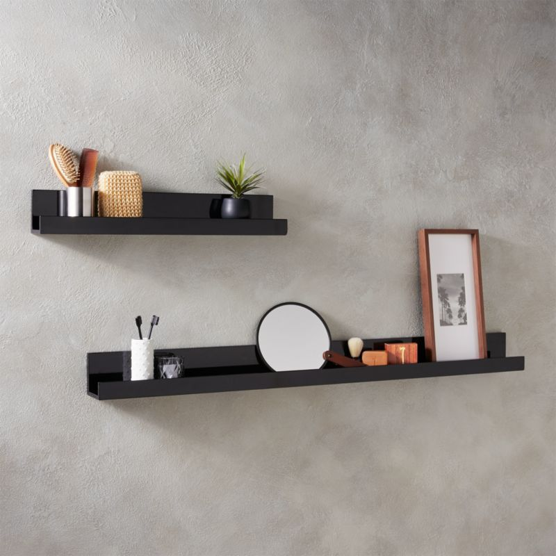 Piano Black Wall Shelves Cb2