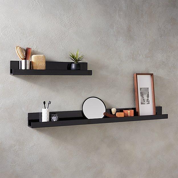 """Piano Black Wall Shelf 24"""""""