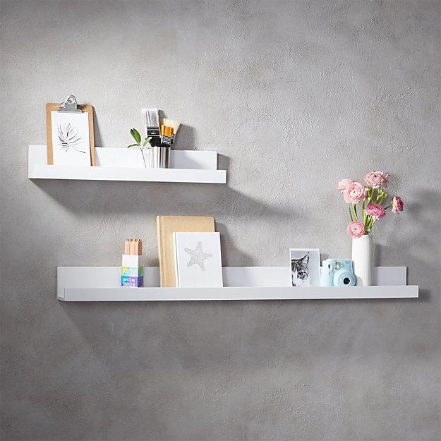 Piano White Wall Shelves Cb2