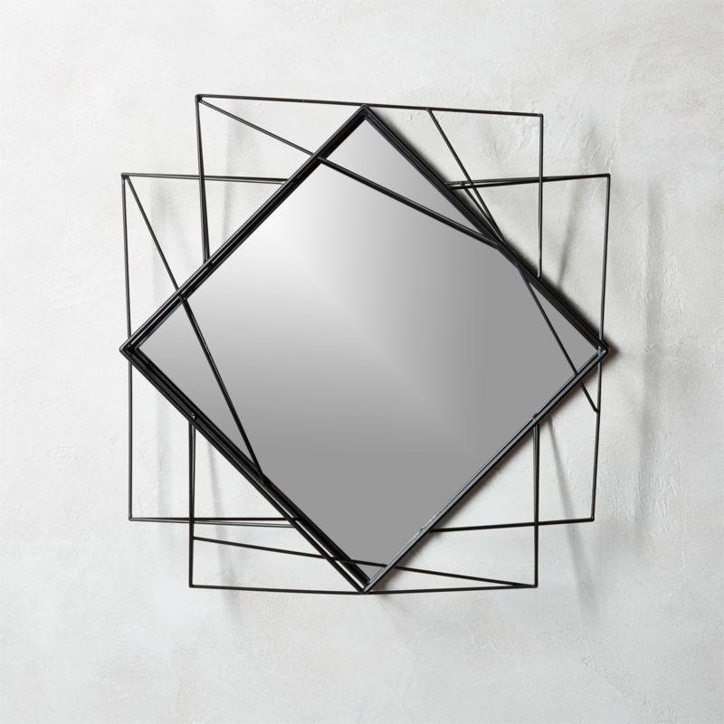 "Black Wall Mirrors piazza black wire frame wall mirror 22.5"" | cb2"