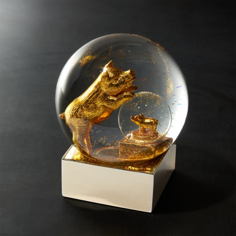 Cb2 Free Shipping >> Gold Pig Snow Globe | CB2