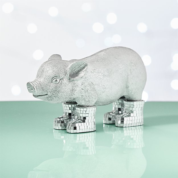 pig with mirror boots