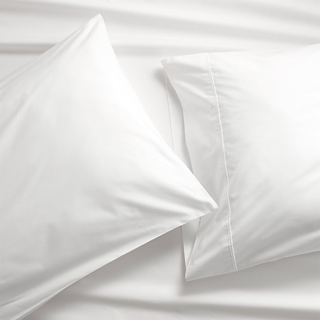 set of 2 pima 415 thread count white king pillowcases