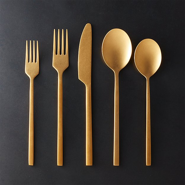 20 Piece Pin Tumbled Gold Flatware Set Cb2