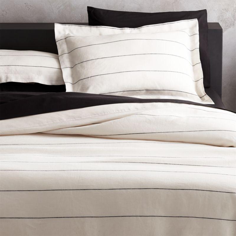 Linen Pinstripe Bedding Cb2