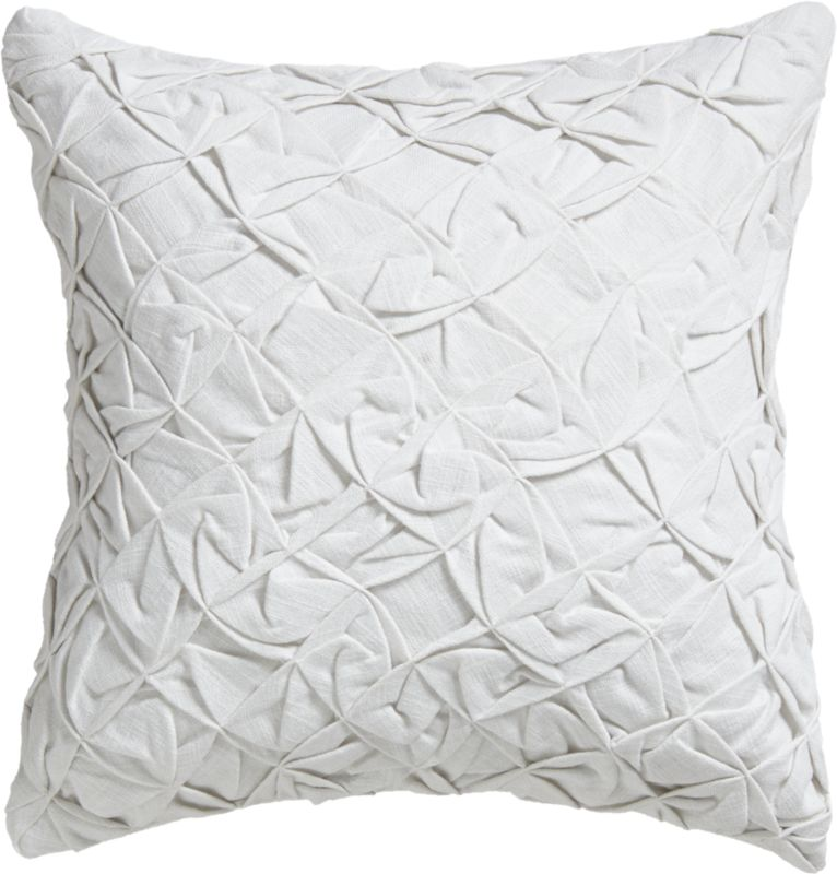 "pintuck white 18"" pillow with down-alternative insert"