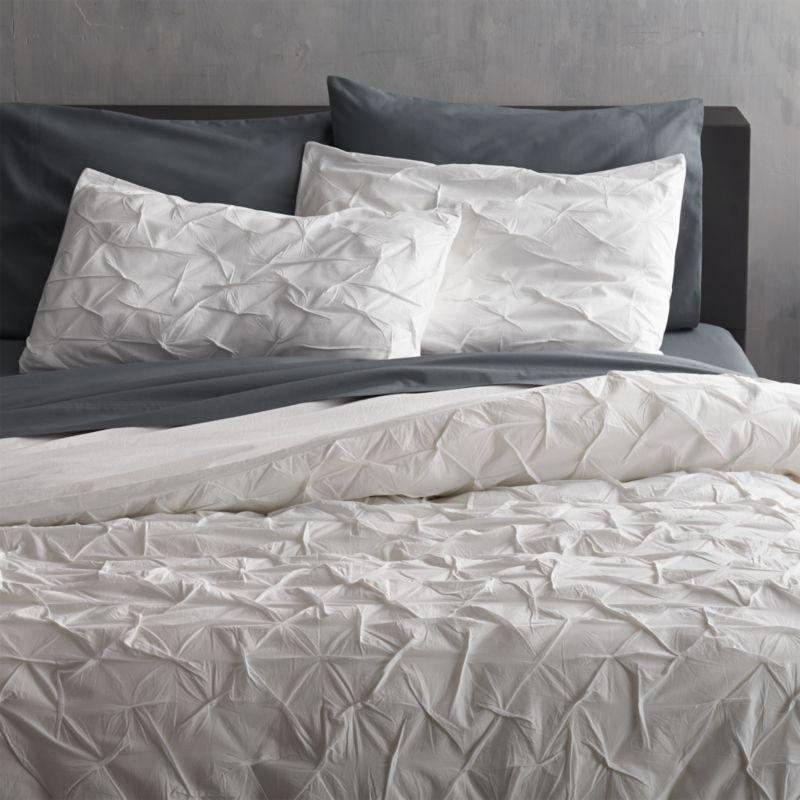 Pintuck Bedding Melyssa White Full Queen Duvet Cover