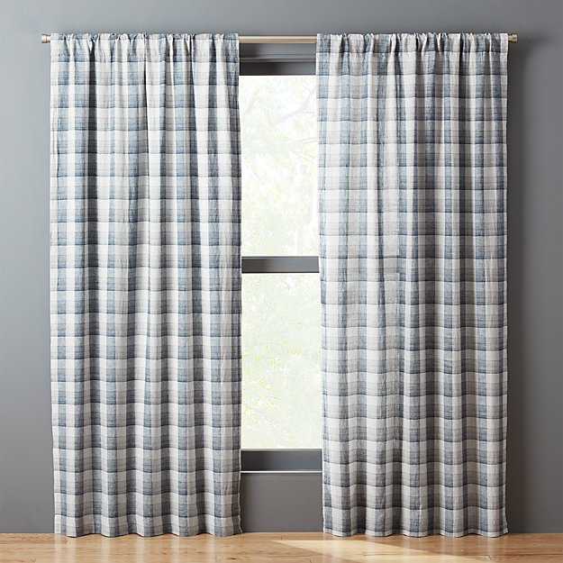 Navy-White Plaid Curtain Panel