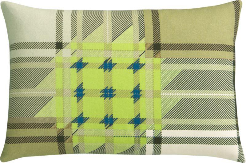 "plaid chartreuse 18""x12"" pillow"