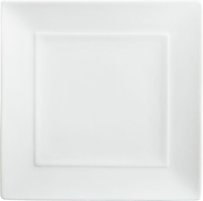 "<span class=""copyHeader"">flare and square.</span> Slick white handmade porcelain square flares with mitered edges. Inner rim rises subtly to frame creative presentations.<br /><br /><NEWTAG/><ul><li>Handmade porcelain dipped in white glaze</li><li>Dishwasher-, microwave- and oven-safe</li></ul>"