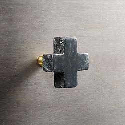 plus black marble knob