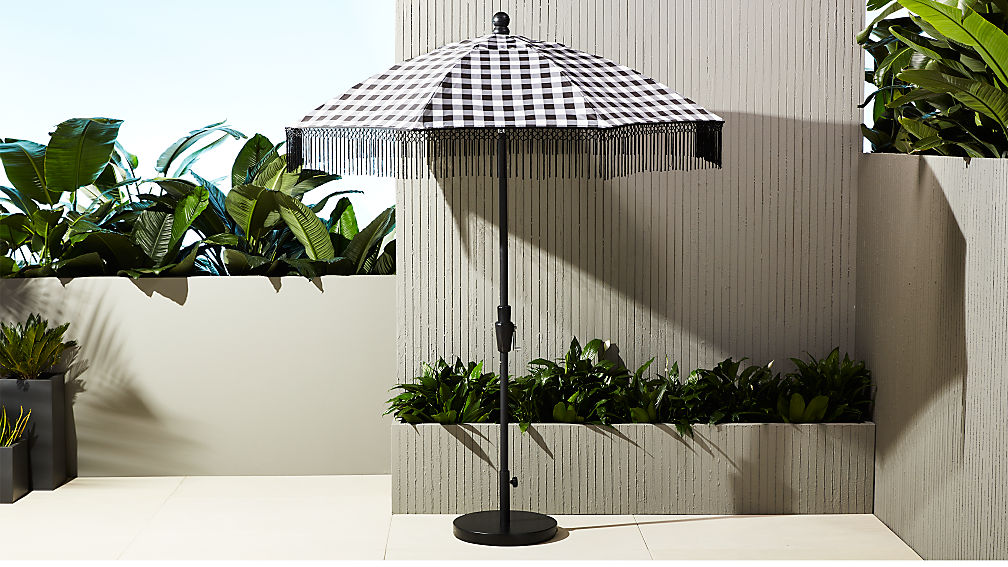 poleng gingham umbrella with base