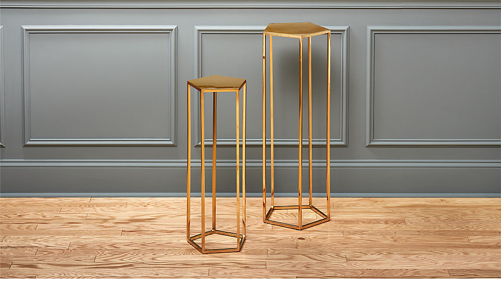 Polygon Metal Pedestal Tables | CB2