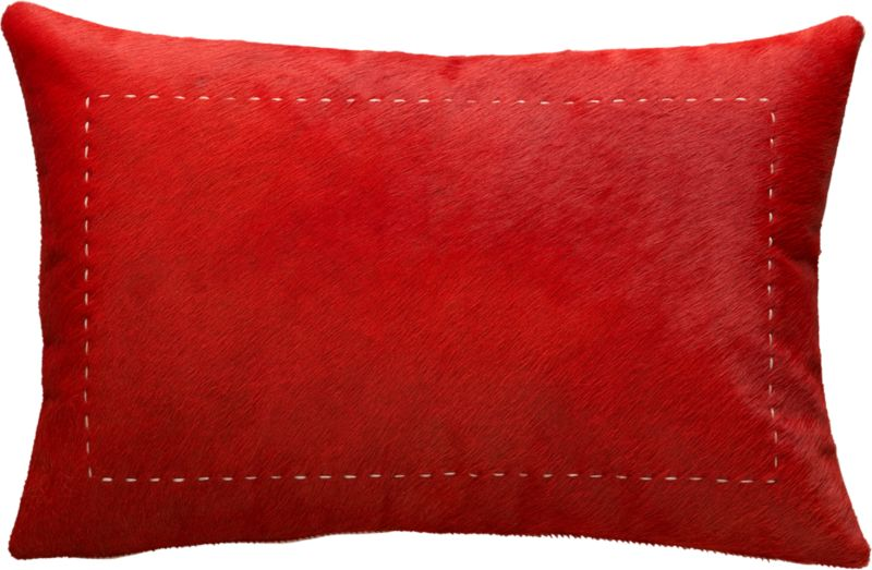 "pony up red 18""x12"" pillow with feather-down insert"