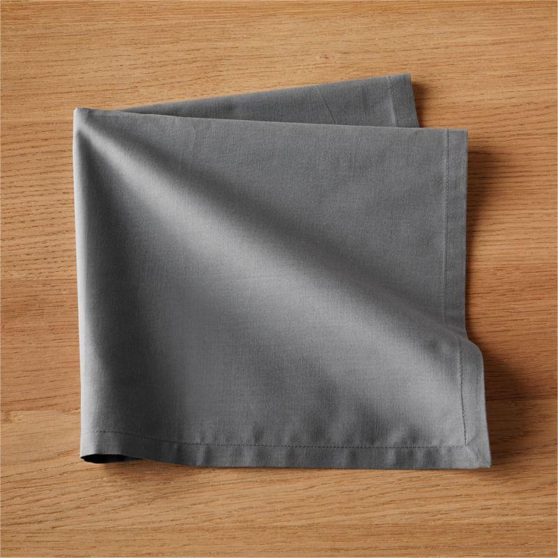 Set Of 8 Poplin Grey Napkins In Table Linens Reviews Cb2