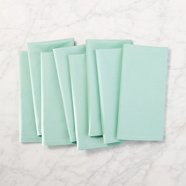 set of 8 poplin light emerald napkins
