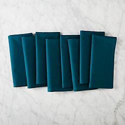 set of 8 poplin teal napkins.