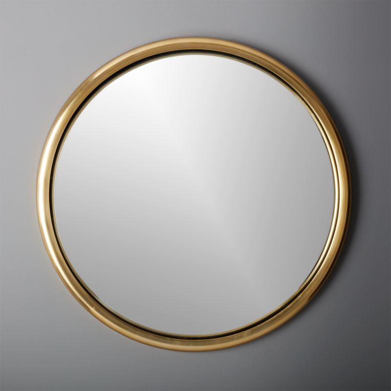 25 Porthole Gold Round Wall Mirror CB2