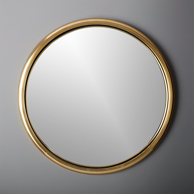 "25"" porthole gold round wall mirror"