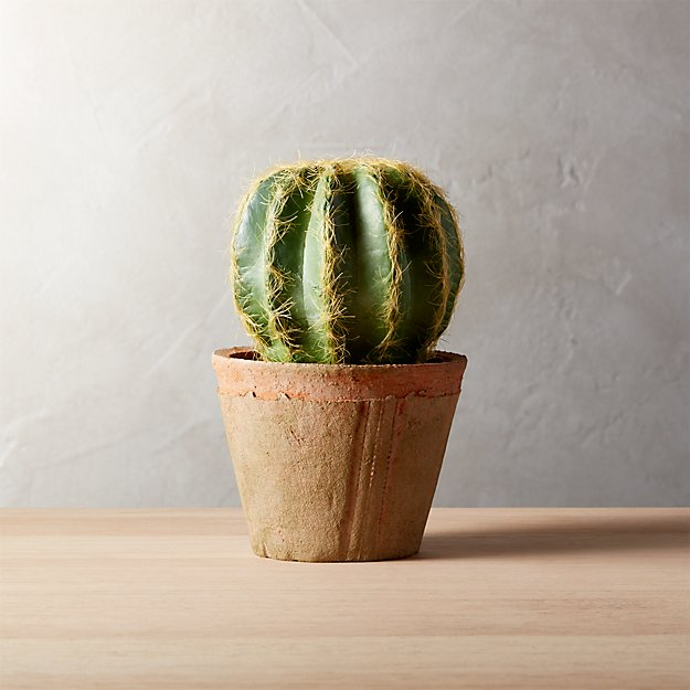6 Quot Faux Small Potted Cactus Cb2