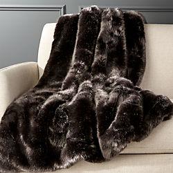 Premium Grey Faux Fur Throw