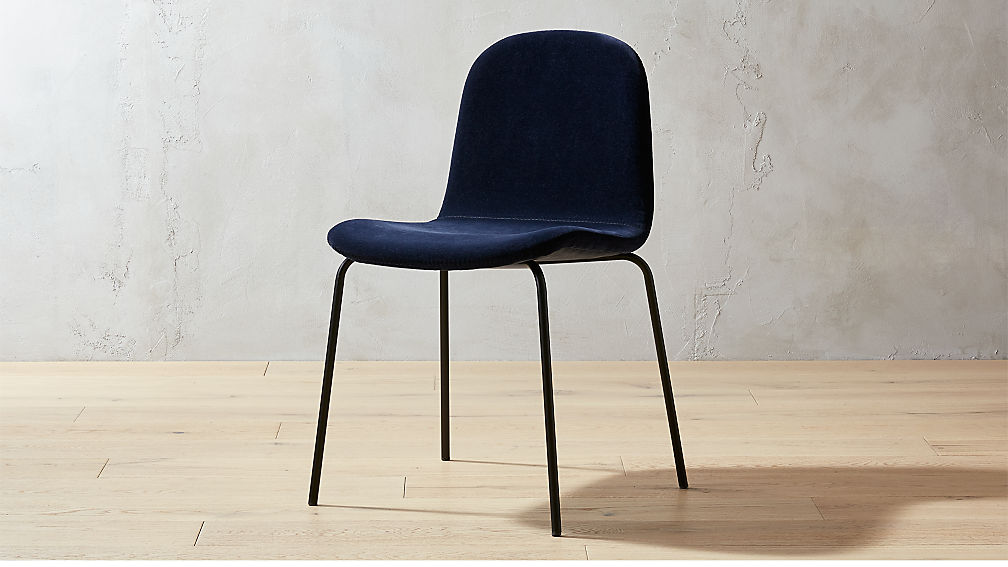 Primitivo Navy Blue Velvet Dining Chair Reviews CB2