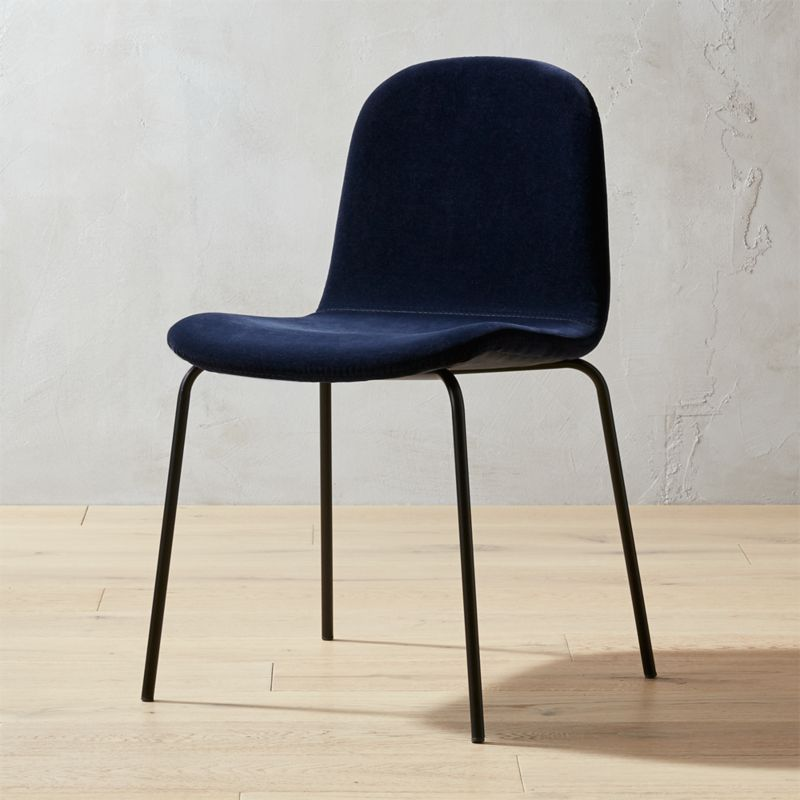 Primitivo navy blue velvet dining chair reviews cb2 for Modern dining chairs australia