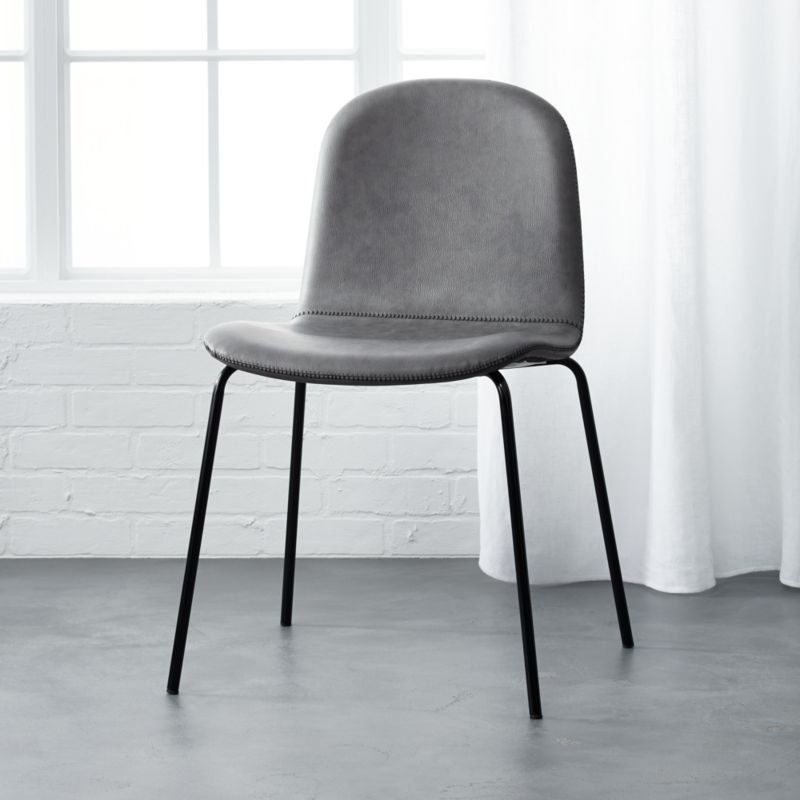 primitivo grey faux leather dining chair | CB2