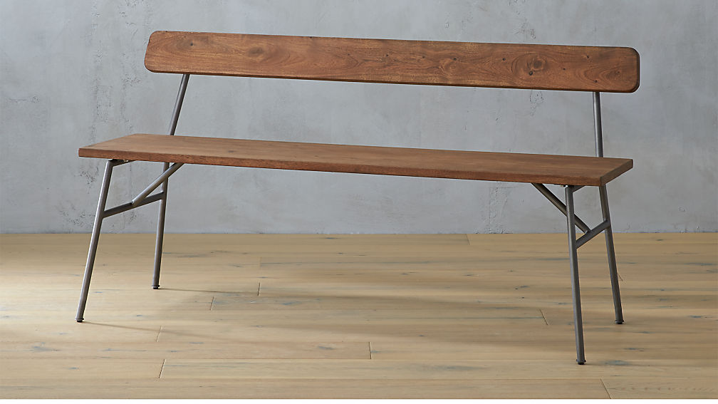 Principle Wood Dining Bench With Back Cb2