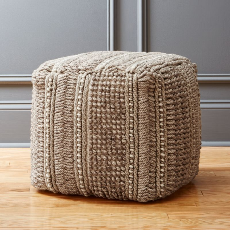 Profile Wool Woven Pouf Reviews Cb2