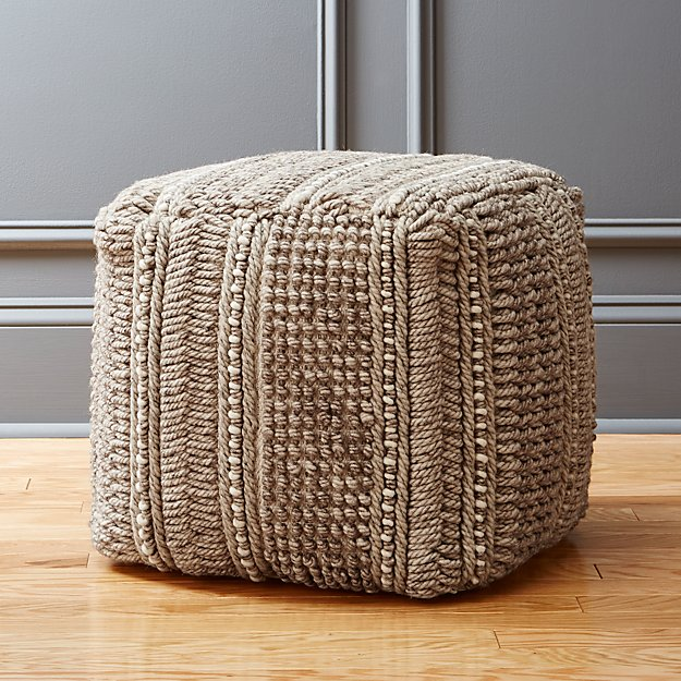 profile wool woven pouf cb2. Black Bedroom Furniture Sets. Home Design Ideas