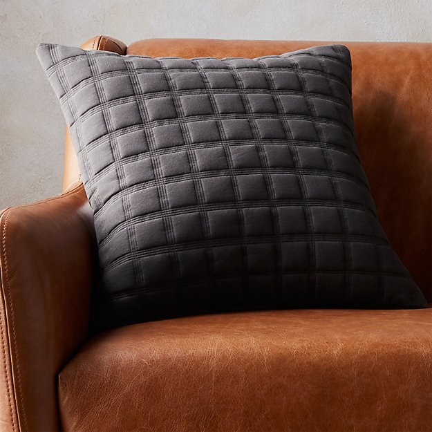 "18"" quadro quilted grey pillow with feather-down insert"