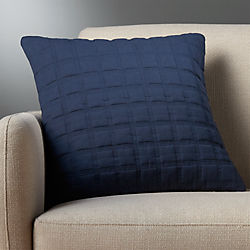 "18"" quadro quilted navy pillow with feather-down insert"