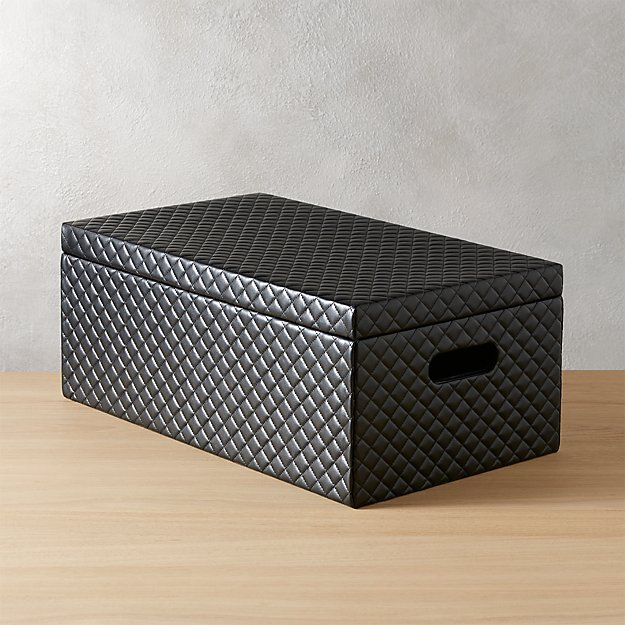 quilted black storage box with lid