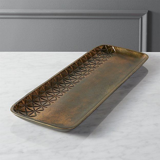quin burnt brass tray