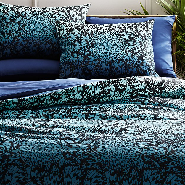 butterfly wheel teal bedding