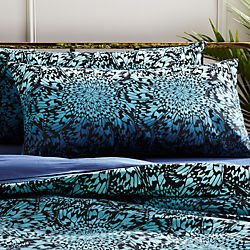 set of two butterfly wheel teal king shams