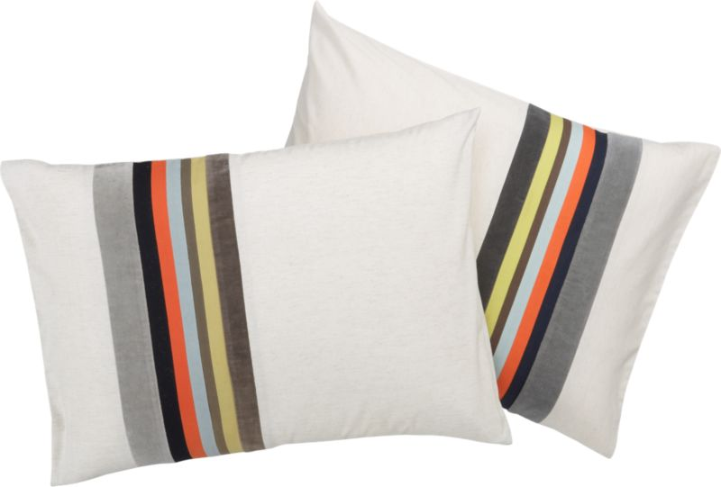 """<span class=""""copyHeader"""">band together.</span> Laid-back luxe falls in line with textured bands of rich, warm neutrals. Velvet bands of dark and light grey border cotton stripes of yellow, brown, mint, orange and navy. Vertical multicolor graphic punctuates natural field of 200-thread-count cotton/linen in off-center asymmetric sweep. Matching shams are finished neat with envelope closure. Reverse to solid natural.<br /><br /><NEWTAG/><ul><li>Cotton/linen blend in natural</li><li>200 thread count</li><li>Shams have envelope closure</li><li>Reverses to solid natural</li><li>Machine wash</li></ul>"""