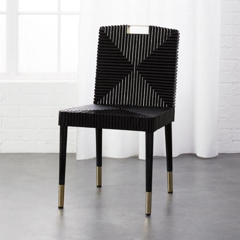 Rattan And Brass Dining Chair