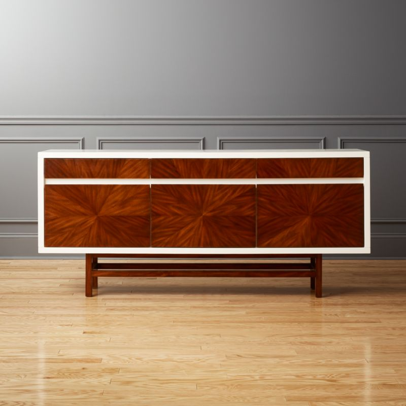 Ray Marquetry Credenza. Modern Media Consoles  Credenzas and Cabinets   CB2