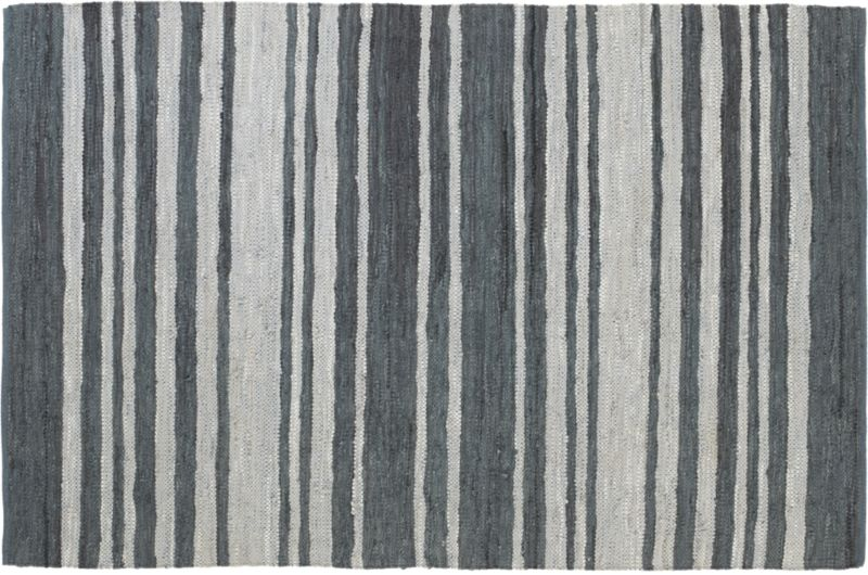 recycled leather stripe rug 6'x9'