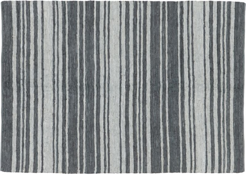 recycled leather stripe rug 9'x12'