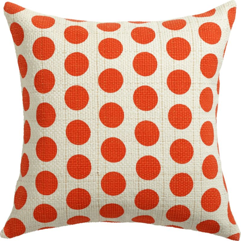 "red dots gold dash 20"" pillow with feather insert"