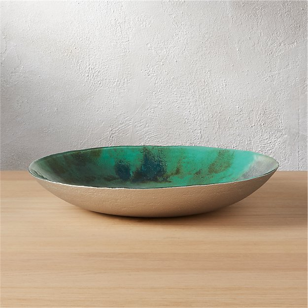 reef hand painted mint glass bowl