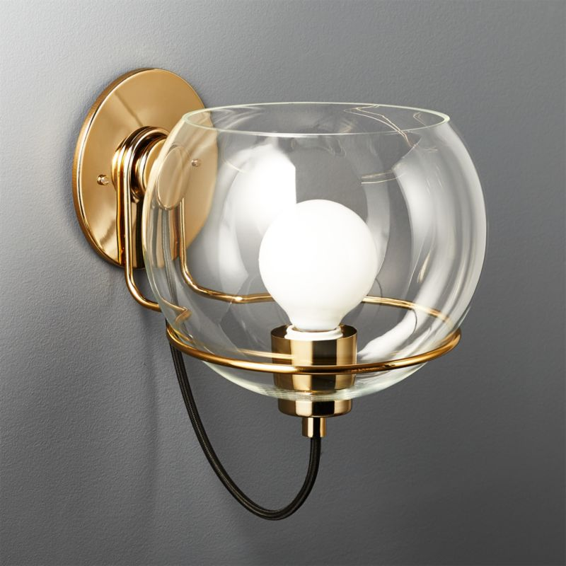 Rest Large Clear Glass Wall Sconce In Wall Sconces