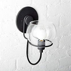 Rest Clear Glass Black Wall Sconce
