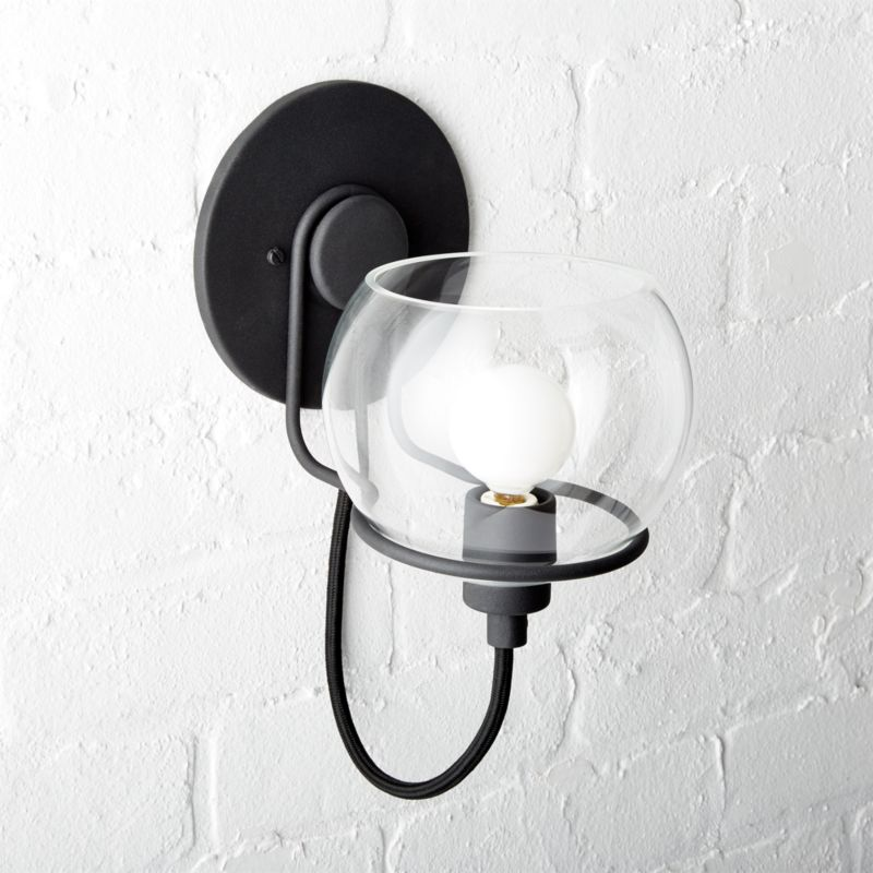 Rest Clear Glass Black Wall Sconce CB2