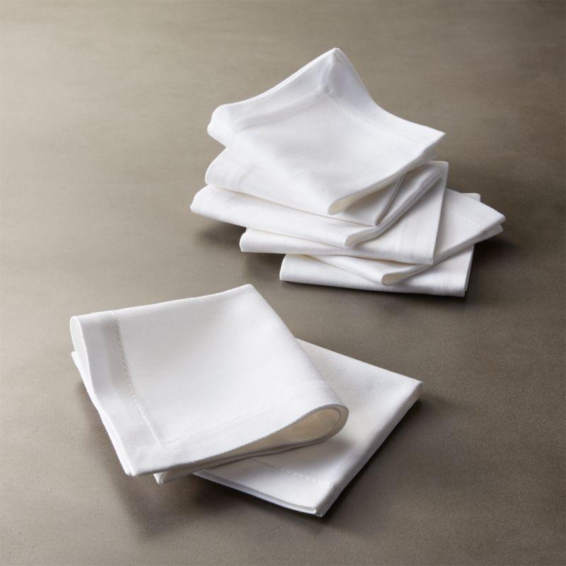 Set Of 8 Restaurant White Cocktail Napkins In Table Linens