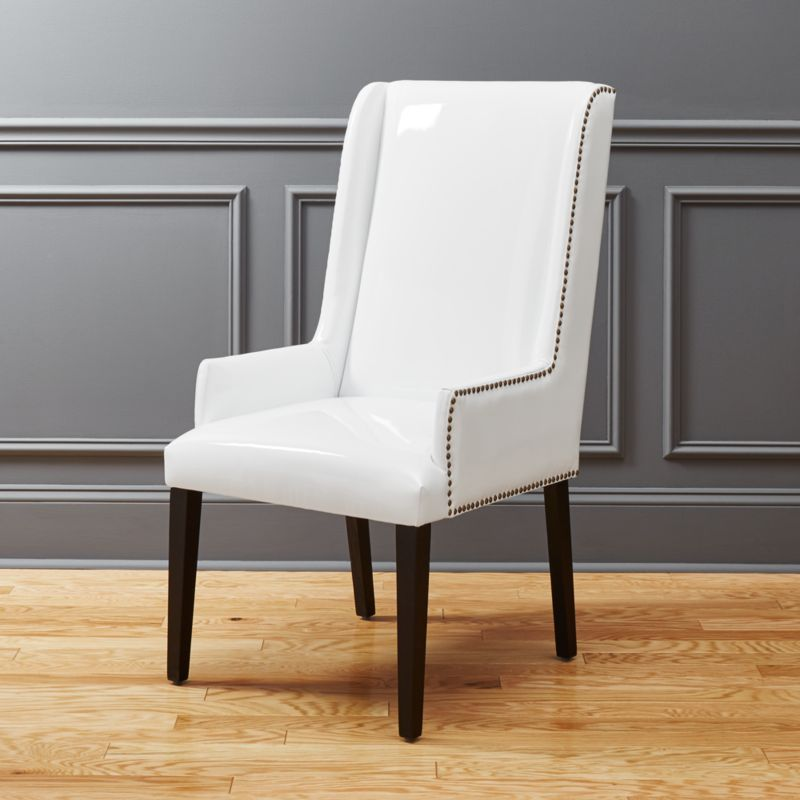 Reynolds White Patent Leather Chair | CB2